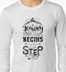 typographical, lettring quote journey, black and white Long Sleeve T-Shirt
