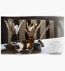 Feather Quill and ink bottles Poster