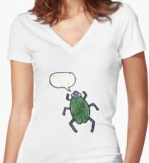 cartoon giant beetle Women's Fitted V-Neck T-Shirt