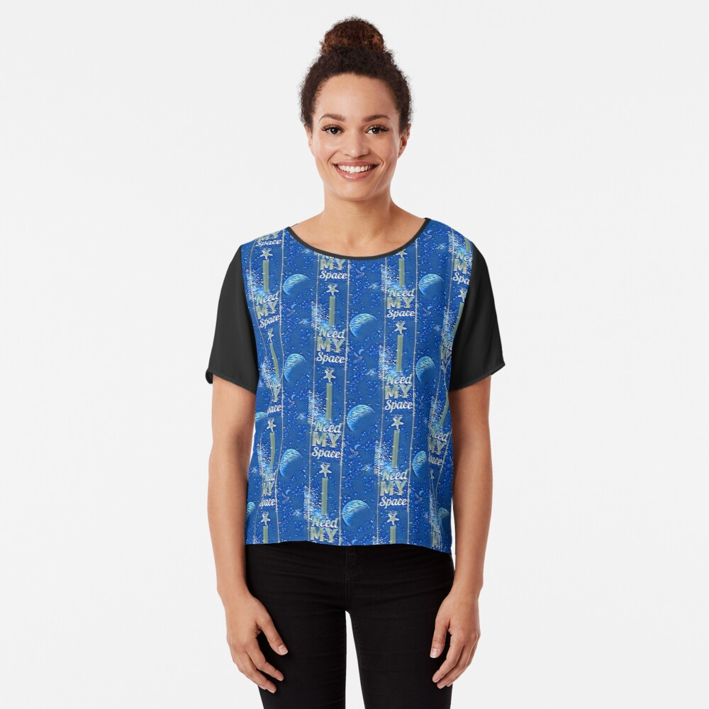 Blue starry night I need my space Women's Chiffon Top Front