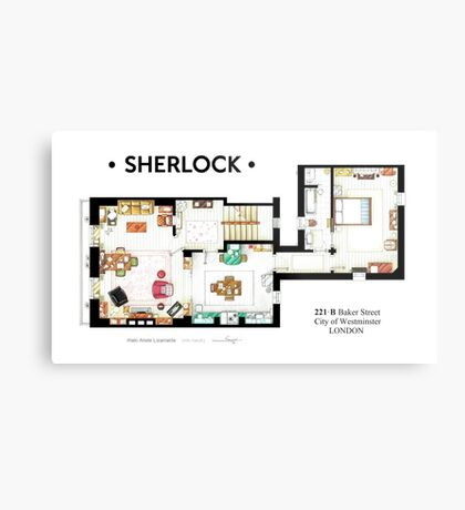 Floorplan of Sherlock Holmes apartment from BBCs Metal Print