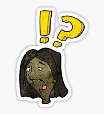 cartoon shocked woman Sticker