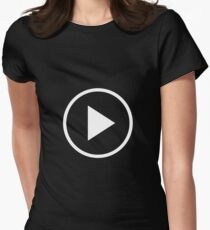 Fun play button icon Women's Fitted T-Shirt