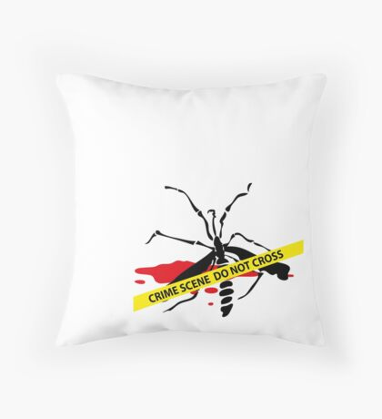 Crime scene mosquito Throw Pillow