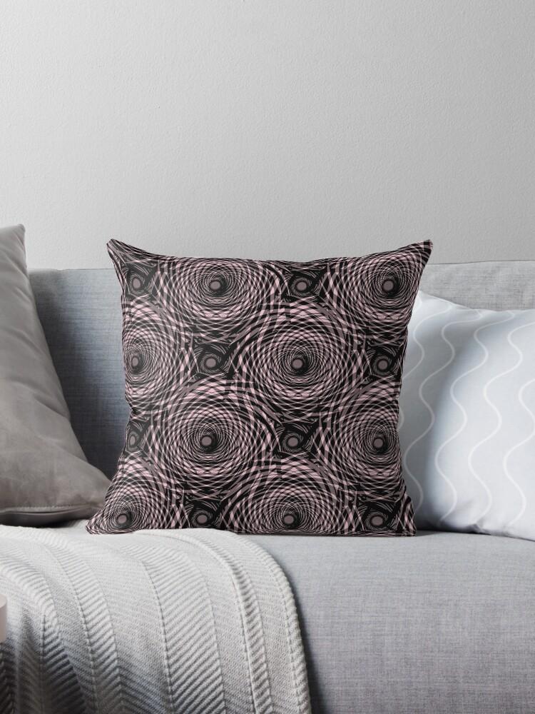 Abstract pattern. black, pink swirls on a black background. by marinaklykva