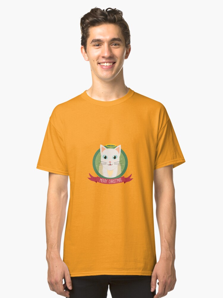 Christmas Cat as Angel Classic T-Shirt Front