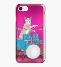 Cat Playing Drums - Pink iPhone Case/Skin