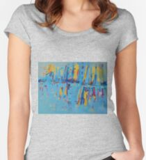 Blue Yellow Abstract Patterns Oil Artwork Painting Women's Fitted Scoop T-Shirt