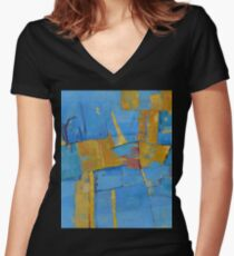Abstract Artwork Blue Yellow Doodle Patterns Women's Fitted V-Neck T-Shirt
