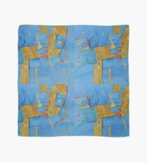 Abstract Artwork Blue Yellow Doodle Patterns Scarf
