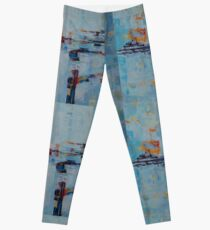 Abstract Pattern Blue Grey Shapes Geometric Doodle Art Leggings