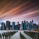 Sunset of Downtown from Brooklyn Marina by Randy  LeMoine
