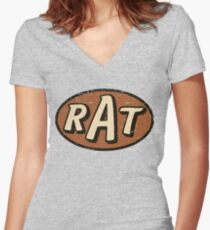 RAT - weathered/distressed Women's Fitted V-Neck T-Shirt