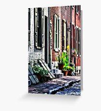 Philadelphia Pa Street With Flower Pots Greeting Card