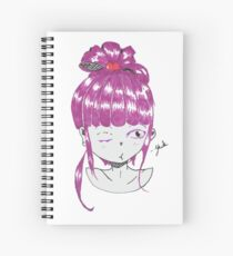 Anime girl with pink hair winking Spiral Notebook