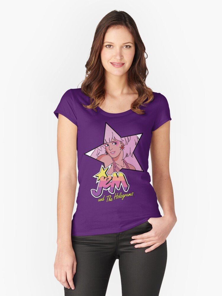 Jem and the Holograms Star Cute Kawaii 80's 1980's Retro Women's Fitted Scoop T-Shirt Front