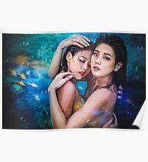 Mermaids under the ocean Poster