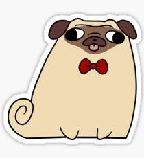 Red Bow Tie Pug Sticker