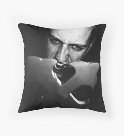 Vampire and Crucifix Throw Pillow