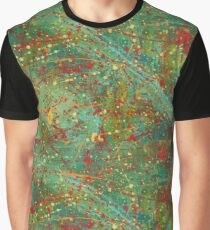 Abstract Green Red Pollock Style Pattern Shape Graphic T-Shirt