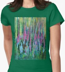 Abstract Shapes Pattern Floral Plant Flowers Green Pink Womens Fitted T-Shirt