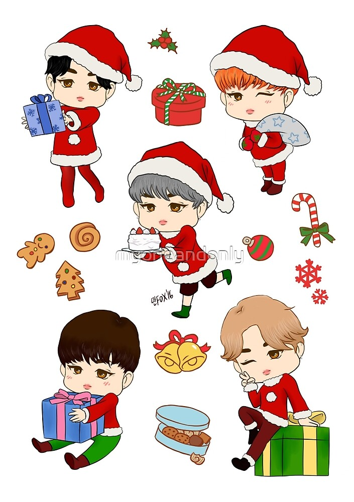 christmas jimin stickers 2016 by myoneandonly