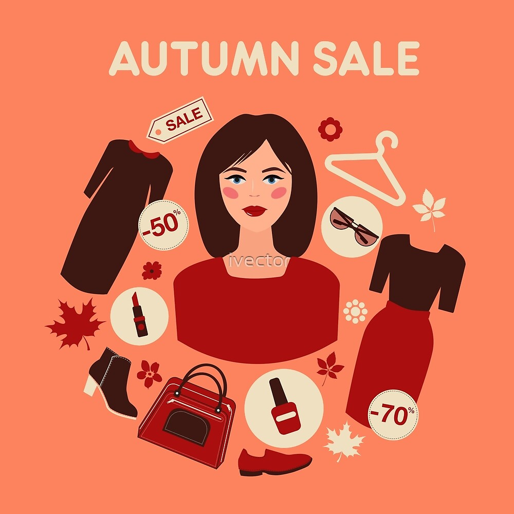 Shopping Autumn Sale in Flat Design with Woman by ivector