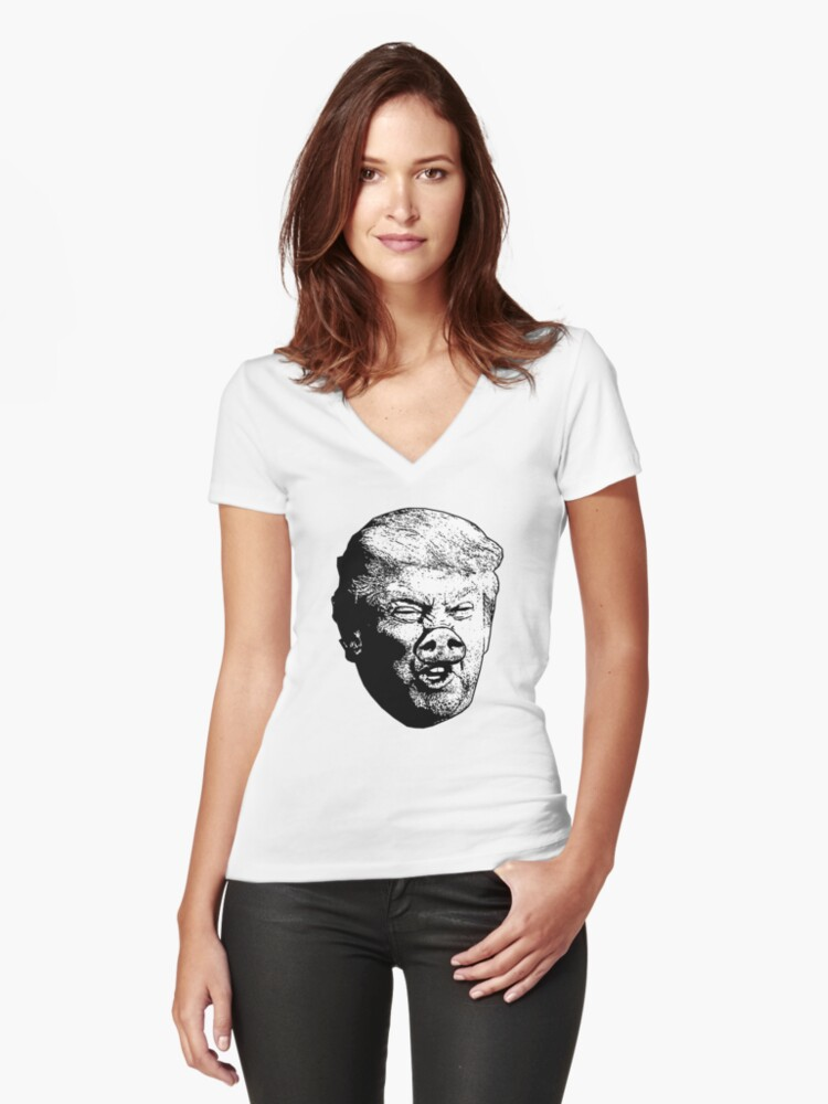 Donald Drumpf - Misogynist Women's Fitted V-Neck T-Shirt Front