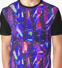 Abstract Shapes Geometric Pattern Purple Black Pink Doodle Boho Graphic T-Shirt