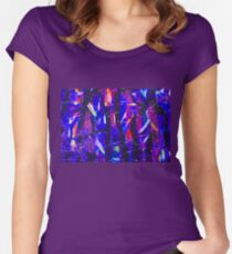 Abstract Shapes Geometric Pattern Purple Black Pink Doodle Boho Women's Fitted Scoop T-Shirt