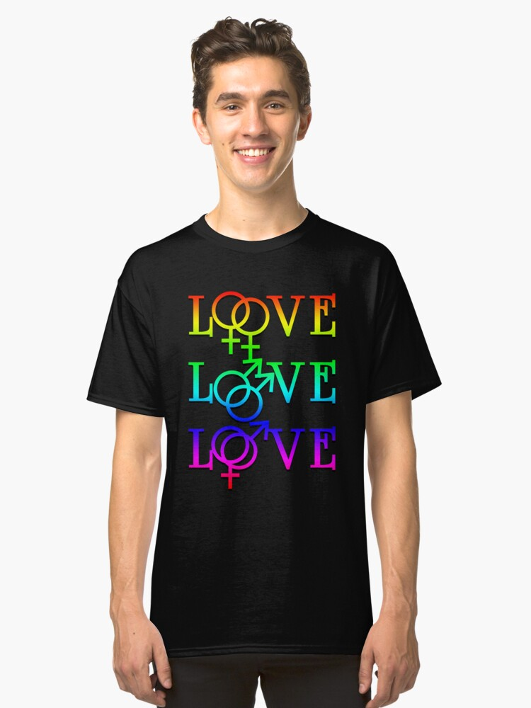 Rainbow Love Comes In Many Forms Classic T-Shirt Front