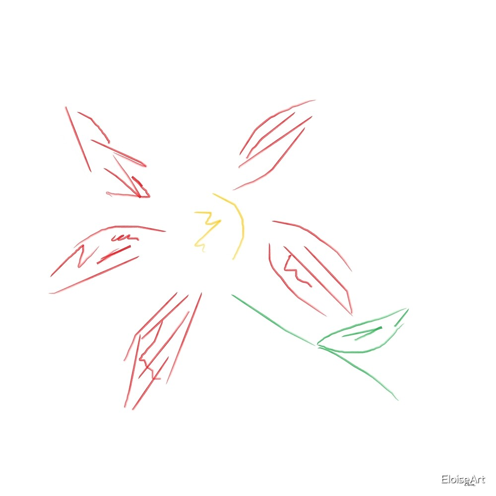 Abstract Red Flower Minimalist by EloiseArt