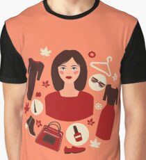Shopping Autumn in Flat Design with Woman Graphic T-Shirt