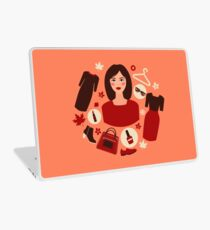 Shopping Autumn in Flat Design with Woman Laptop Skin