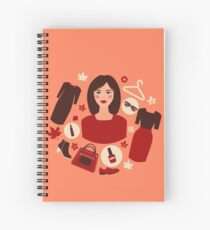Shopping Autumn in Flat Design with Woman Spiral Notebook