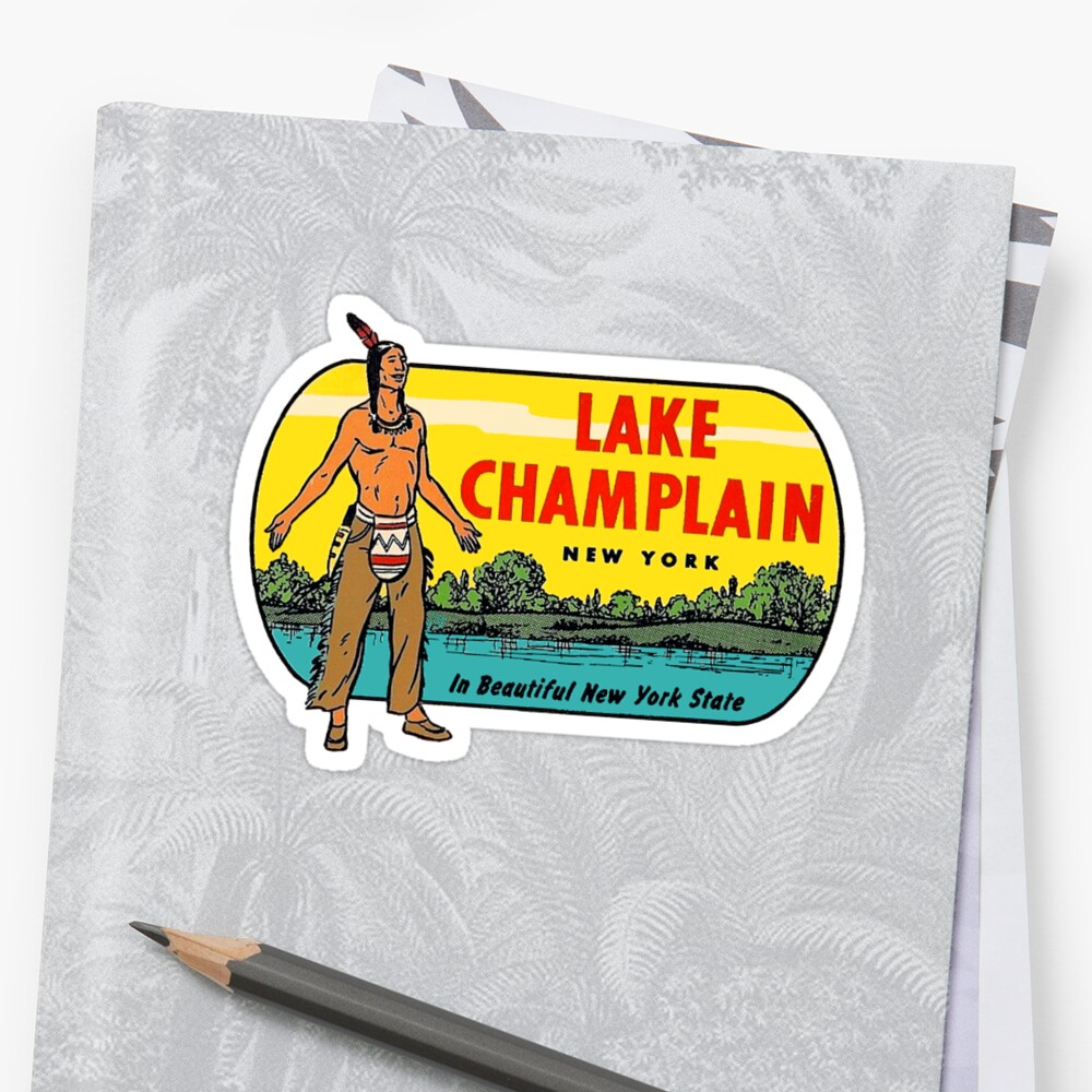 Lake Champlain New York State Vintage Travel Decal by hilda74