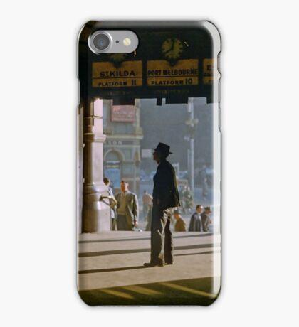 Clockwatcher on entrance Flinders St station 19580904 0001 iPhone Case/Skin