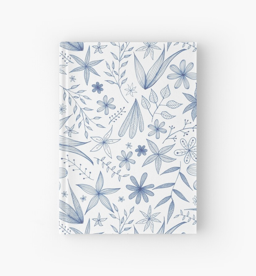 blue flowers and leaves by Stacey Oldham