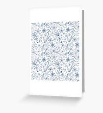 blue flowers and leaves Greeting Card