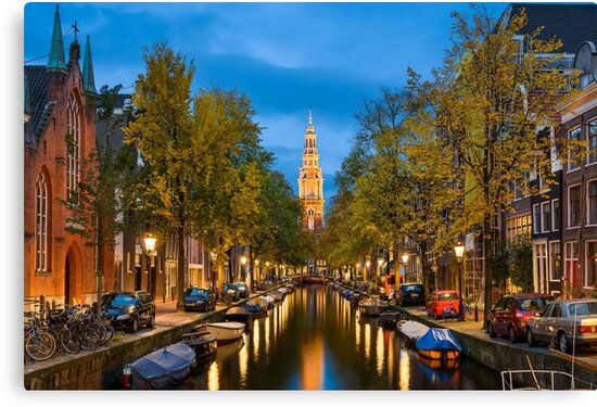 Canal in Amsterdam at Night by Michael Abid