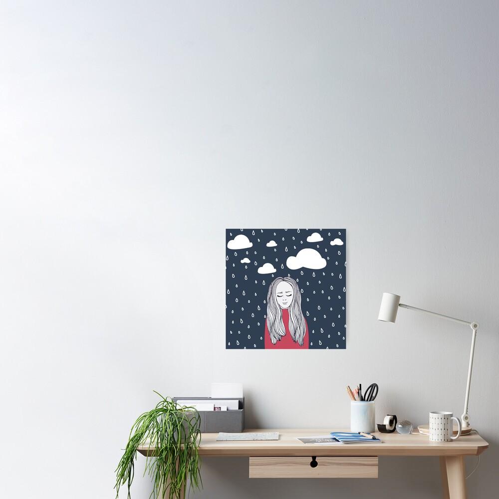 Happy girl in the rain Poster