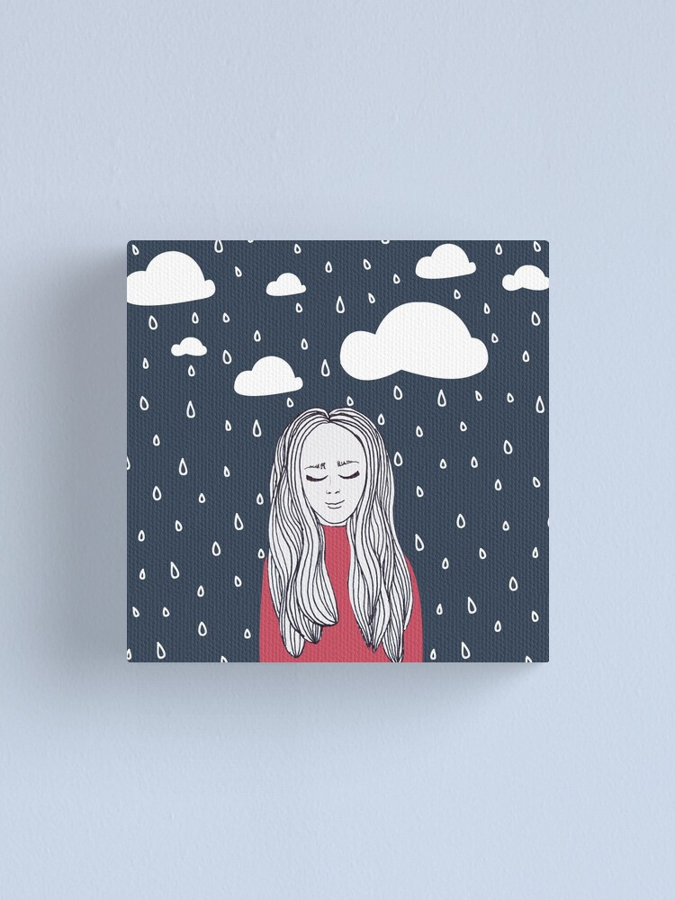 Alternate view of Happy girl in the rain Canvas Print