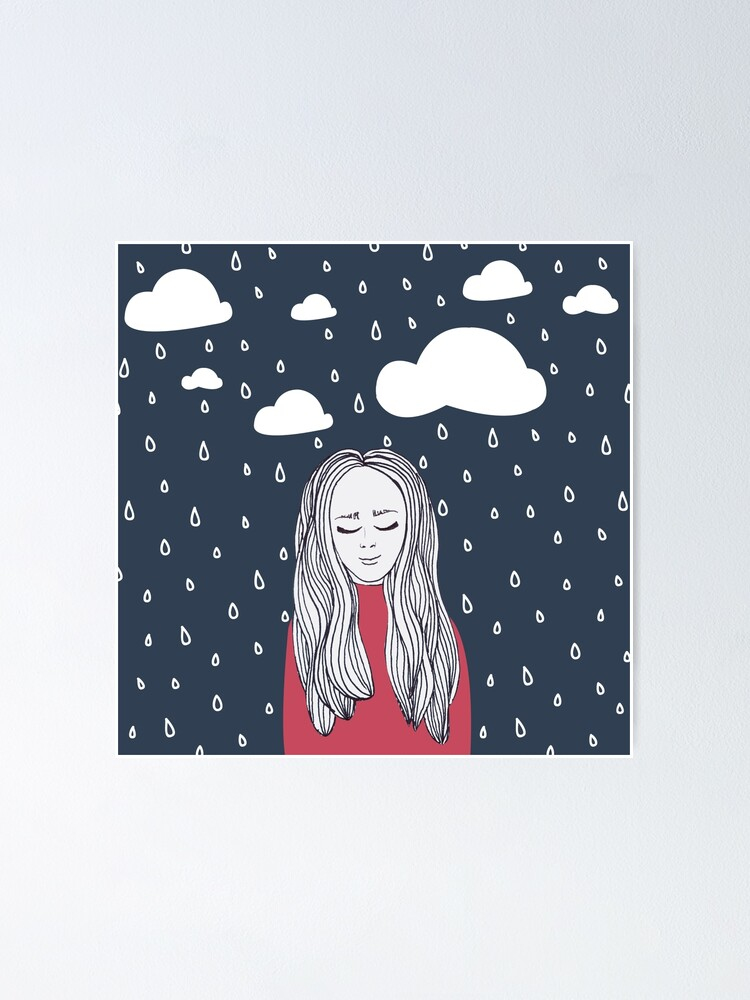 Alternate view of Happy girl in the rain Poster