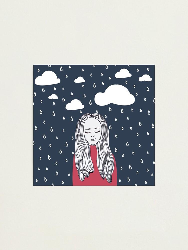 Alternate view of Happy girl in the rain Photographic Print