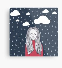 Happy girl in the rain Metal Print