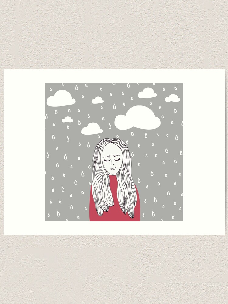 Alternate view of Happy girl in the rain  Art Print