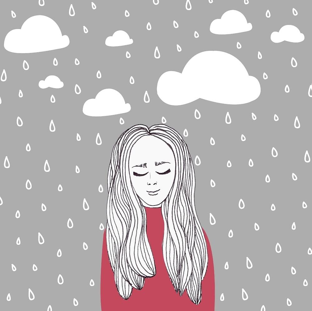 Happy girl in the rain  by Miruna Illustration