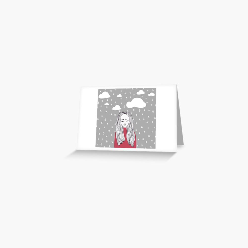 Happy girl in the rain  Greeting Card