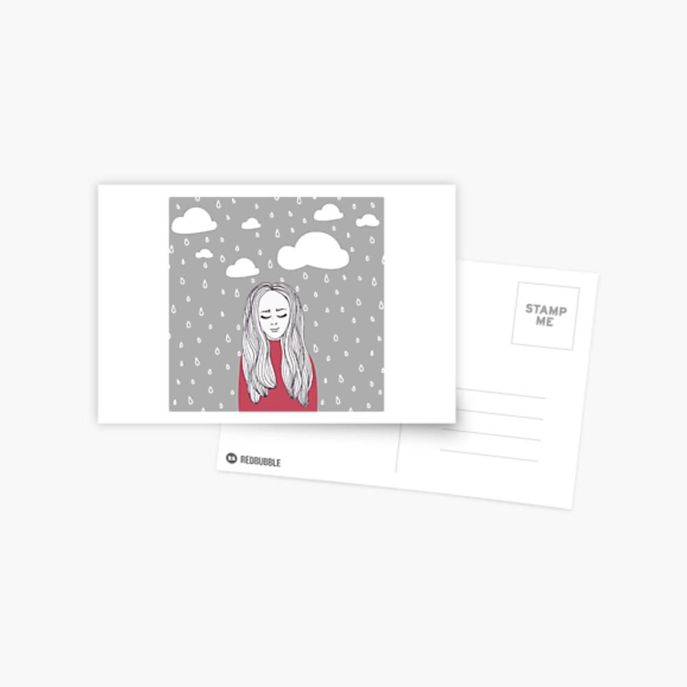 Happy girl in the rain  Postcard