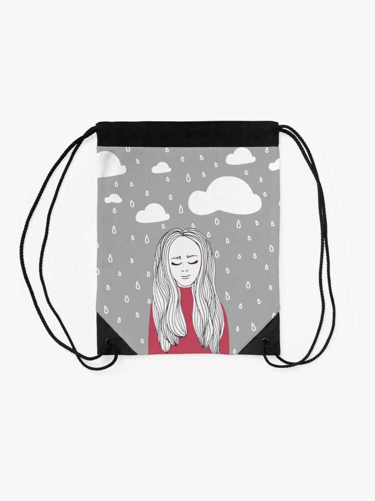 Alternate view of Happy girl in the rain  Drawstring Bag